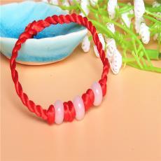 地攤10元模式 玉石轉運珠紅繩手鏈玉石編織抽拉手鏈