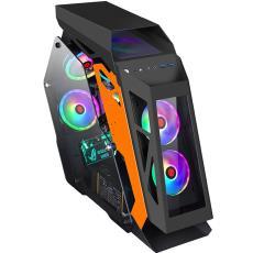 小咖网吧机箱 三角异形风冷侧透游戏水冷机箱 台式机电脑主机箱