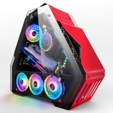台式机电脑双面玻璃高端游戏水冷网咖机箱 玩嘉博粉T9ATX网吧机箱