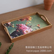 木质托盘餐厅汉堡披萨水果盘酒店用品木制视频托盘定制多功能木盘