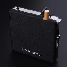 煙盒20支帶打火機一體創意防風個性自動彈煙便攜式菸盒定制刻字