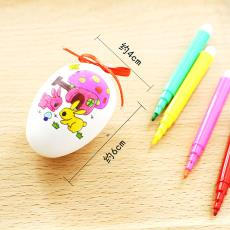 復活節彩繪雞蛋卡通帶圖案玩具蛋仿真塑料彩蛋兒童diy手繪畫涂色