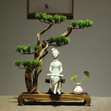禮品定制 陶瓷 家居室內裝飾柜擺件 雕塑瓷青花發財娃娃