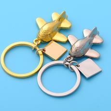 創意飛機模型金屬鑰匙扣精美鑰匙圈掛件航空公司定制LOGO禮品