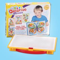创意296粒蘑菇钉玩具 幼儿园儿童巧巧钉拼图3-7岁 拼插板组合