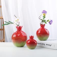陶瓷花瓶石榴摆件小清新欧式简约现代客厅家居装饰品花器插花摆件