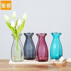 新款六棱批發陶瓷色玻璃花瓶透明彩色水培工藝客廳裝飾插花鮮花