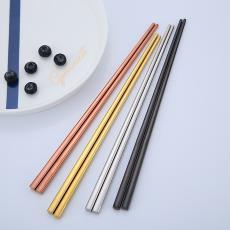 304不銹鋼筷子金屬合金餐具多彩防滑防燙實用方形韓式鍍金筷組合