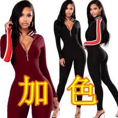 亚马逊速卖通热卖款修身拉链条纹连体裤 BN028 欧美女装 跨境专供