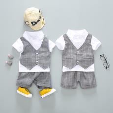 童套装两件套 现货 新品上市 西装马甲夏季短袖短裤套装 厂家直销