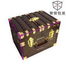 复杂手工皮盒定制厂家 蘑菇钉装饰品质手工礼盒 虎门工厂定制皮盒