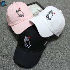潮运动鸭舌弯檐遮阳男女情侣帽子 韩版个性刺绣手掌玫瑰花棒球帽