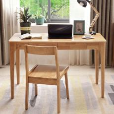 北欧实木书桌电脑桌原木色现代办公桌学生学习写字桌全实mu电脑桌