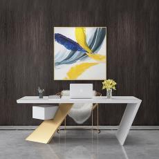 北欧办公室铁艺老板桌创意家用卧室实木电脑桌白色单人办公桌