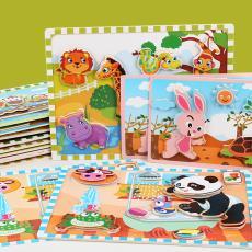 拼圖兒童木質創意立體可粘貼卡通動物認知寶寶早教益智力玩具新款