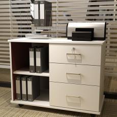 辦公室矮柜簡約三抽屜柜辦公桌柜子邊柜側柜活動儲物木質柜