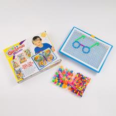 蘑菇釘296顆創意兒童智力組合拼插板玩具拼圖積木早教益智盒裝