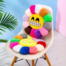 新款太阳花抱枕q表情毛绒玩具坐垫向日葵花瓣靠垫汽车办公室两用