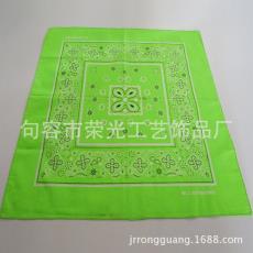2016 荣光厂家直供,可加印logo 荧光绿方巾,头巾,55*55cm